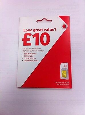 New Vodafone Great Value Pay & Go Sim Card With £10 Credit Bundle