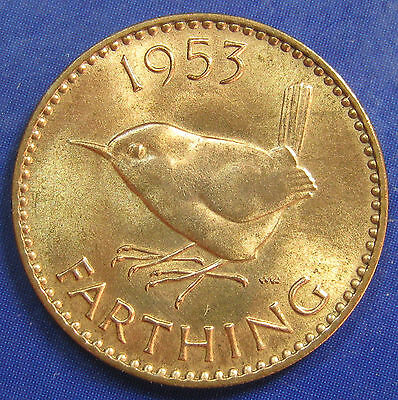 1953 ¼d Elizabeth II Scarce 1+A Farthing - Brilliant Uncirculated