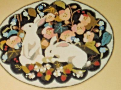 Claire Murray Hand-Hooked Oval Rug KIT - NOS -BUNNIES & FLOWERS