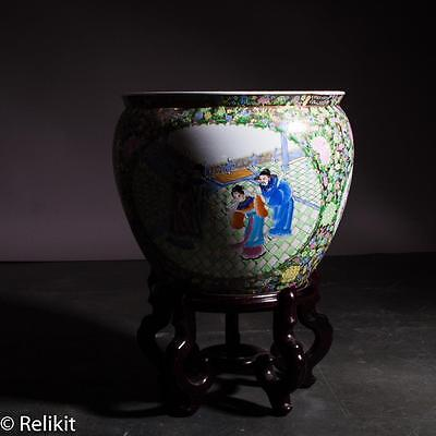 """Very Large 17"""" Vintage Chinese Hand Painted Fish Bowl With Painted Fish Inside!"""