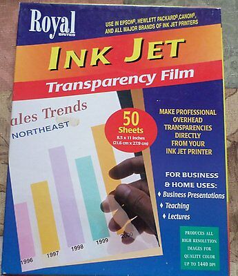 Royal Ink Jet Transparency Film ***Opened*** Total of 40 Sheets
