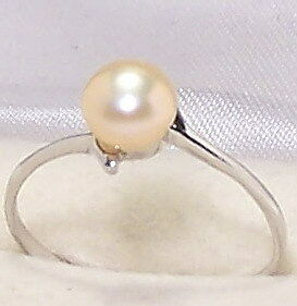 Peach Genuine Freshwater Pearl Solid 925 Sterling Silver Ring Size SZ 7.5 New