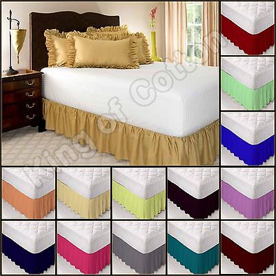 Solid Plain Dyed Poly Cotton Platform Base Valance Frilled Fitted Sheet All Size