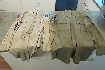Vintage Usmc Marine Corps Green & Tan Shirts Tie & Patches
