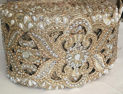 1 Meter Latest Indian Lace Trim Ethnic with Mirror Stone Pearl  Zari work
