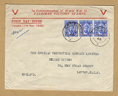 Zanzibar 1946 Victory first day cover to London