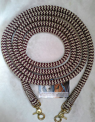 Clip on Reins in Burgundy/Beige Zig Zag - Choice of Length - Natural Equipment