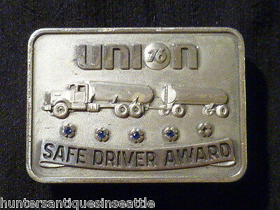 "Vintage Sterling ""Union 76"" Safe Driving Award with Oil Tanker & 4 blue stones"