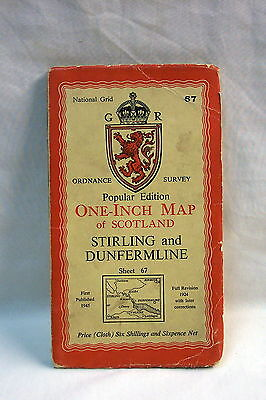 VINTAGE O.S Map STIRLING and DUNFERMLINE  Sheet 67 1945
