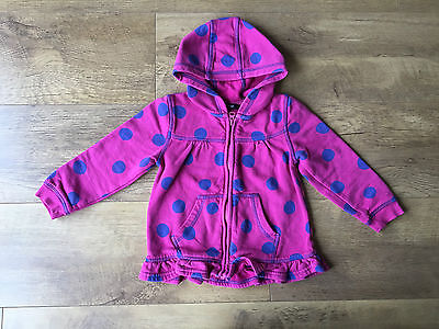 HOODIE ZIP UP SUMMER JUMPER Cerise Hot Pink Polkadot Spotty 2-3 Years - VGC