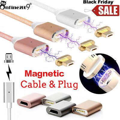 2.4A Magnetic Adapter Charger Micro USB Charging Cable For Android Samsung LOT