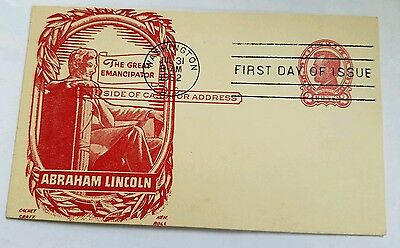 US Postal Card FDC Abraham Lincoln Cachet by Ken Boll July 31, 1952 Rare!