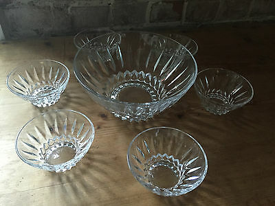 Vintage/retro Style Design Glass Punch/trifle Bowl & Six Dishes