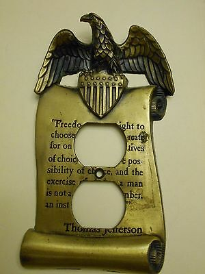 Vintage Brass Thomas Jefferson Scroll Outlet Cover With Eagle & Quote