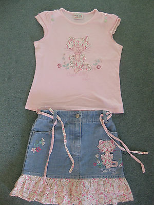 Gorgeous Next Girls Summer Embellished & Embroidered Cat T-shirt & skirt 7 yrs
