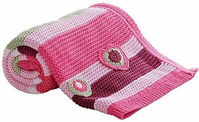 New Clair De Lune Pink Pick N Mix Knitted Pram & Crib Cotton Baby Blanket