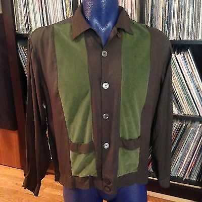 Vintage 1950s Mid Century Darwin Loop Collar Rockabilly Retro Green Mens Shirt L