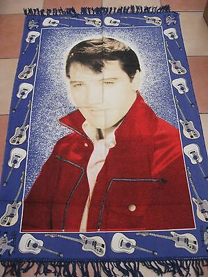"""54""""x33"""" ELVIS FRINGED RUG/WALL HANG/THROW/TABLE CLOTH/BED THROW - USED v g c"""