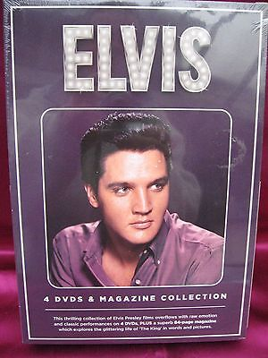 Bnwt 4 Elvis Film Dvd's Collection + 84 Page Magazine - Still In Wrappings