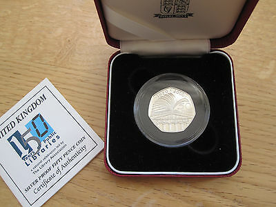 150 years of Public Libraries; Silver Proof  50p Coin; encapsulated + CoA + case