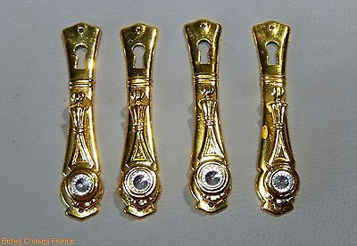 Vintage 4 french gold alloy drawer pull key hole cover pediment furniture