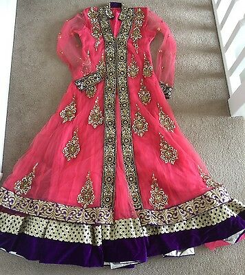 Bollywood Asian / Indian Net Anarkali Dress Wedding /engagement Party Pink
