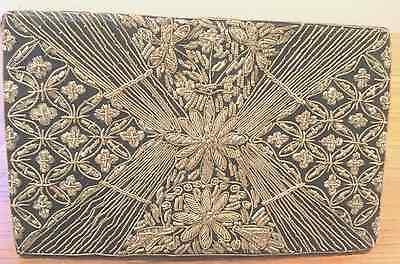 Vintage /Antique Beaded Clutch / Black- Silver Beading