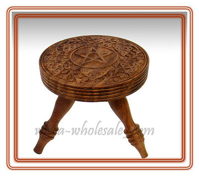 "Pentacle Pentagram Altar Table Wooden  6""H 5.75""D FREE SHIPPING"