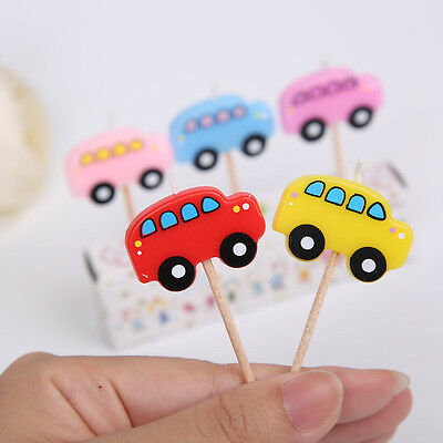UK Seller Brand New 5pcs/set Top Quality Birthday Little Cute Bus Candles4Kids