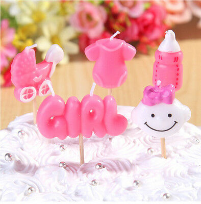 UK Seller 5pcs/set Top Quality It's a Girl Party Candles,Baby Shower, Birthday,