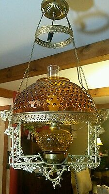 Antique Hanging Brass Lamp Amber Hobnail Glass