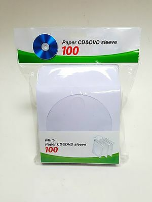100 CD DVD White Paper Sleeve with Clear Window and Flap Envelopes