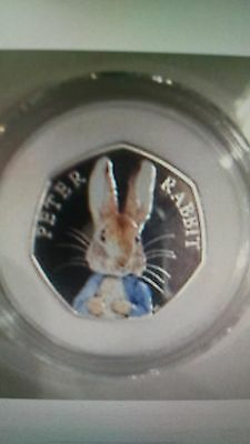 Peter Rabbit  uncirculated 2016 UK 50p Colored Silver Proof Coin, The Royal Mint