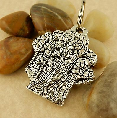 Treehouse, tree & Victorian house double sided Pewter Keychain Key tag