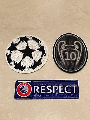 UEFA Champions League Respect Star Ball Trophy 10 Patch Badge Real Madrid Jersey