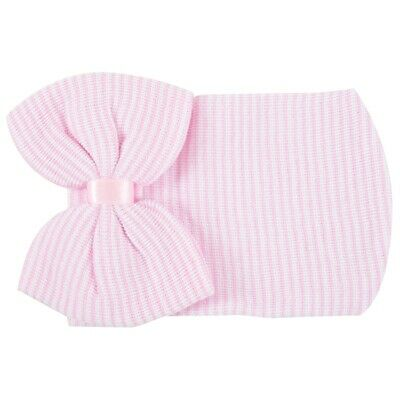 Newborn Baby Hospital Hat Beanie With Bow Cute Soft Sweet Baby Caps (Pink) N3