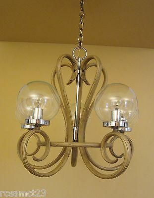 Vintage Lighting 1970s Mod bentwood style chandelier   Remarkable