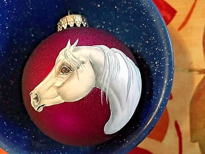 Gray Arabian Horse Hand Painted On Christmas Ornament