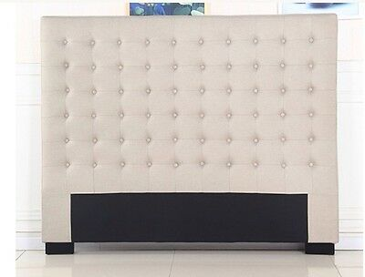 Bed Headboard Queen Beige Upholstered Fabric Bedhead Tufted Buttons Cilantro