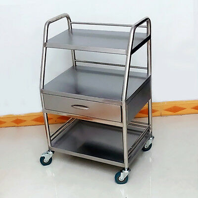 Best Thick Three Layer With Drawer Serving Medical Dental Cart Trolley New N945