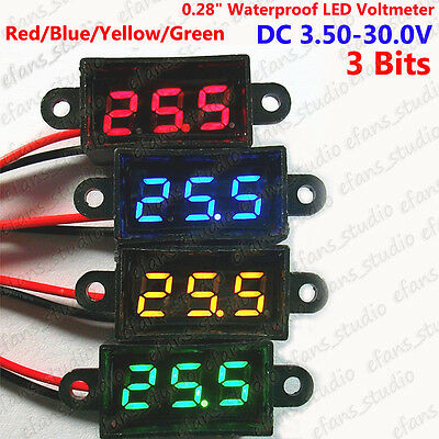 DC 3.50-30V Waterproof Mini Digital 3 Bits LED Voltmeter 5v 12v 24v Car Battery