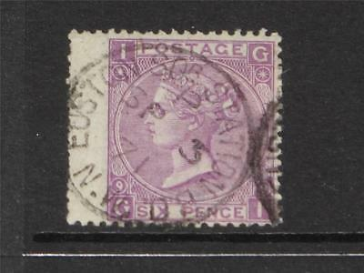 GREAT BRITAIN UK QV Sg 109 6d Mauve Plate 9  USED WITH CDS