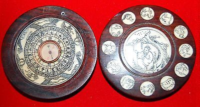 Vintage CHINESE FENG SHUI SCRIMSHAW - STYLE ZODIAC WOOD BOX w/COMPASS