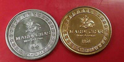 PAIR 1969 New Orleans Mardi Gras Doubloons Budweiser Clydesdales