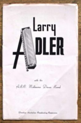 OLD PROGRAMME Town Hall Melb  1961 Larry Adler Harmonica Player & ABC Dance Band
