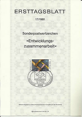 Stamp 1981 Germany Deutsche Development Cooperation Special Post Brochure Sheet