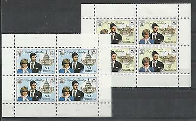 Stamps Anguilla Diana prince Charles Royal wedding MNH 2V Sheets Very fine