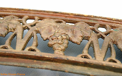 Antique XXL french cast iron pediment embellishment grape vine vigneron decor