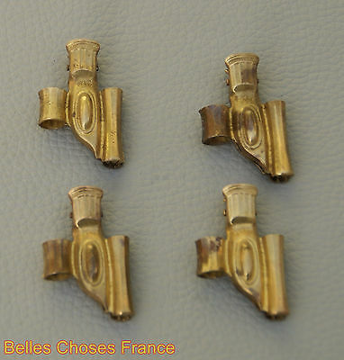 Antique french gold brass hardware curtain hooks set of 4