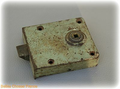 Antique french iron door lock 3.51 x 3.32 green color
